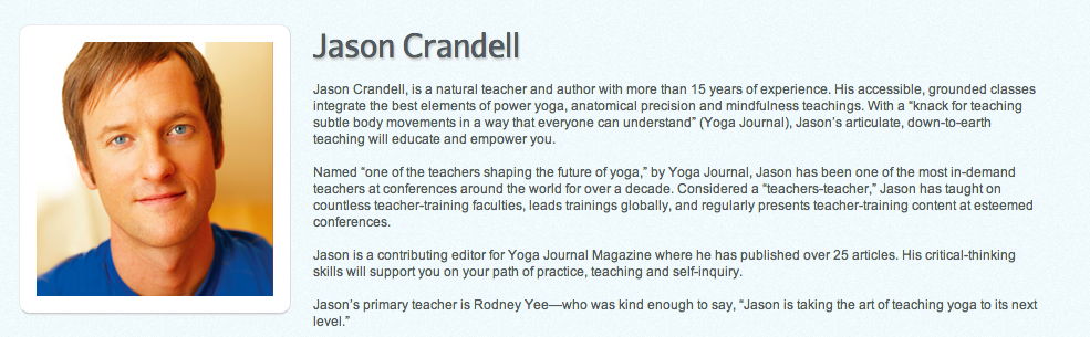 Jason Crandall on Yogaglo.com