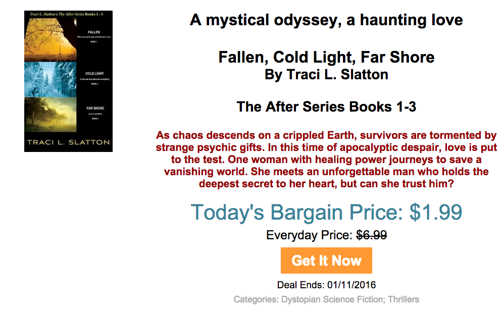 Big Sale on eBook: 3 Volume set, FALLEN, COLD LIGHT, FAR SHORE